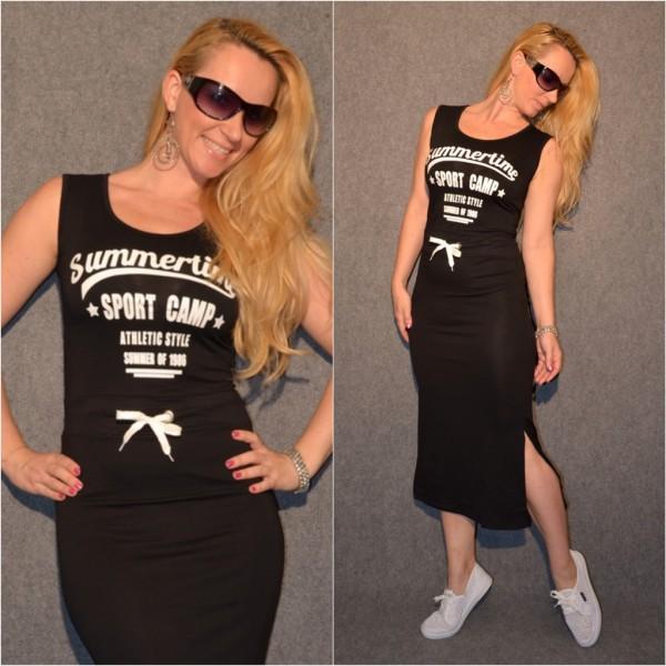 Jersey Kleid mit Schlitz SUMMERTIME Sport Camp SCHWARZ
