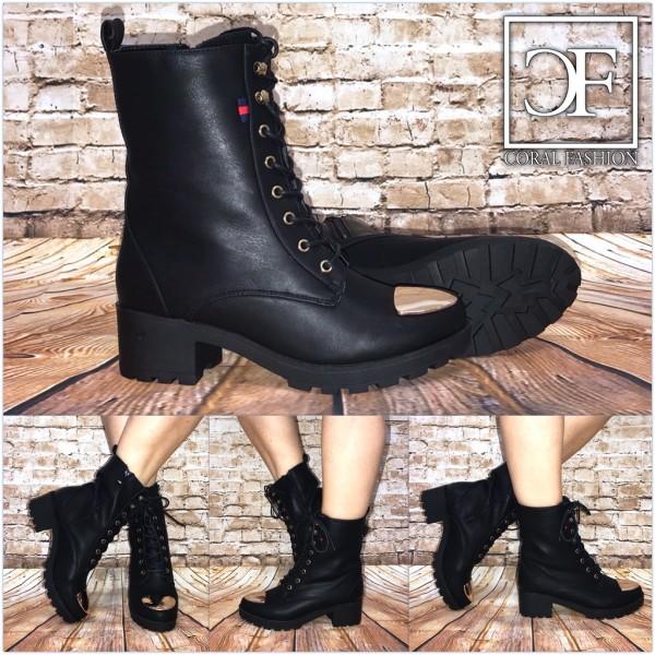 Fashion BIKER Highcut Kunstleder Boots / Stiefeletten SCHWARZ