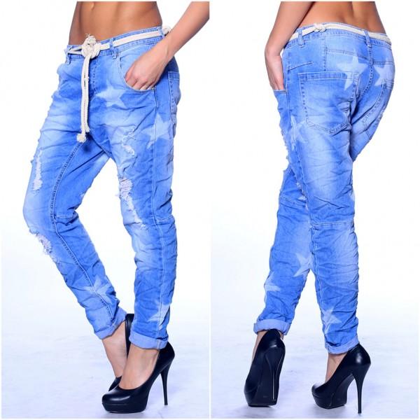 Lässige STERN / STAR Boyfriend Jeans mit Seilgürtel