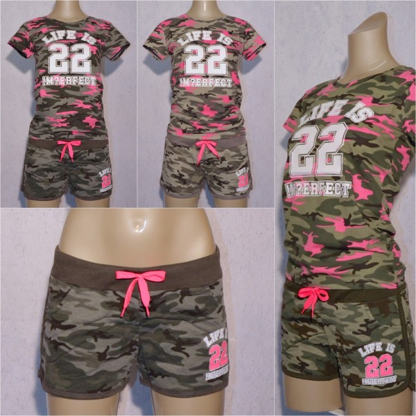 Damen Sommer Camouflage SET separat bestellbar T-Shirt & Shorts Hot Pants LIFE is Imperfect 22