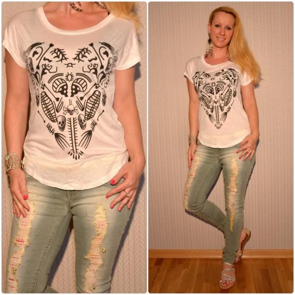 Stylisches Shirt Modell: HERZ / TOTENKOPF Print WEISS