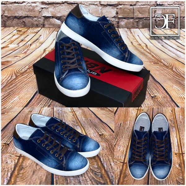 HERREN Schnürschuhe Lowcut Freizeitschuhe Sneakers in Jeans DENIM Look Blau