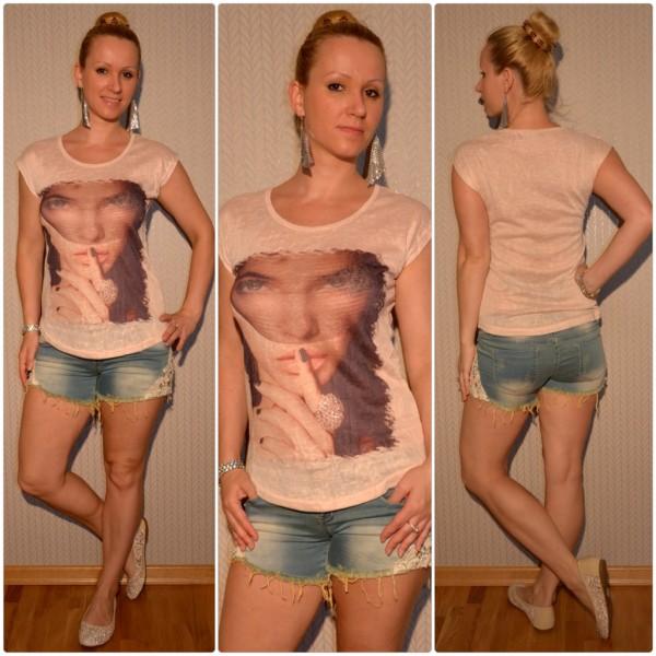 Stylisches Shirt Modell: Schleier LADY mit Ring BEIGE