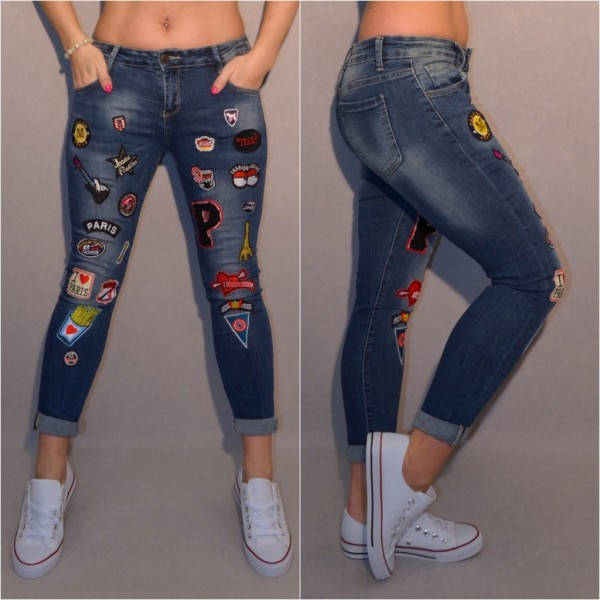 Hot FASHION stretch JEANS mit APPLIKATIONEN