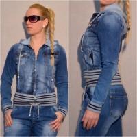 Stretch jeansjacke mit destroyed