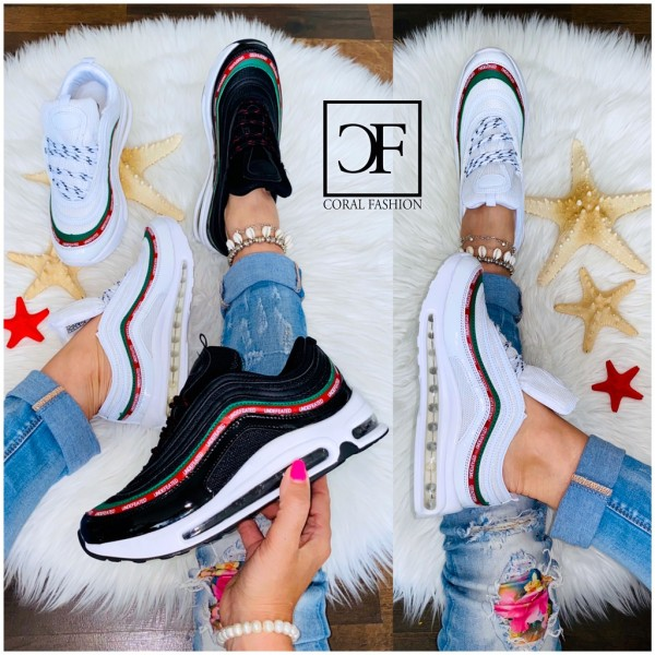 Bequeme Damen FULL LUFT Stripe Sportschuhe Sneakers in 2 Basic Farben