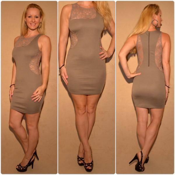 Mini Kleid mit Spitzeneinsätzen BRAUN
