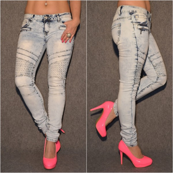 BLEACHED Look stretch Jeans mit Steppmuster ICE BLUE