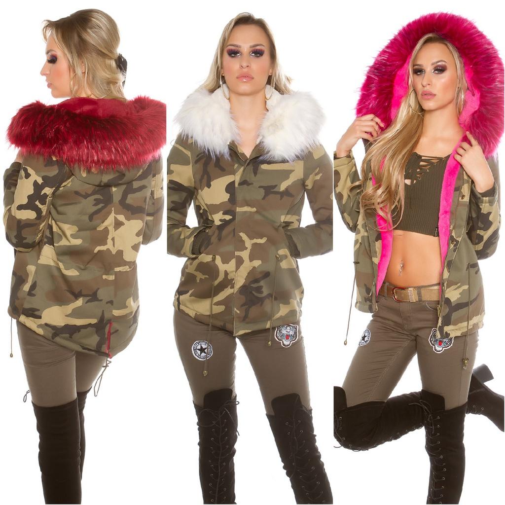 Gefütterte Damen Winterjacke Parka Jacke mit Kapuze in ARMY CAMOUFLAGE Look