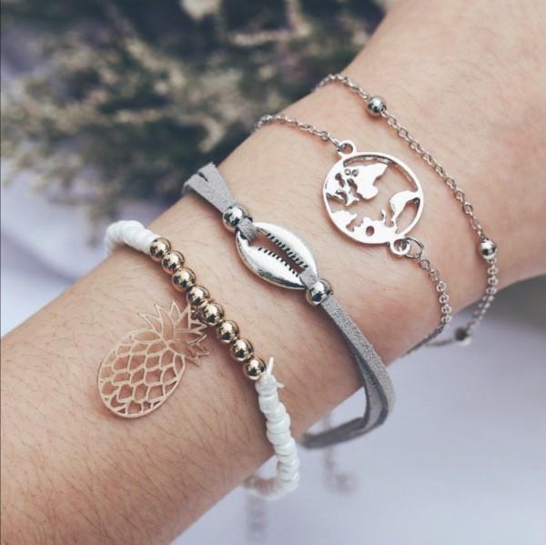 Fashion Damen Schmuck Set Armband 4 teilig Perlen Muschel Ananas grau weiß silber