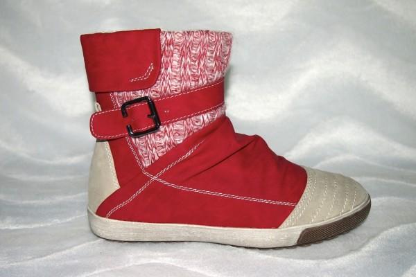 Stiefeletten - Sneakers Stil mit Fellimitat gefüttert ROT