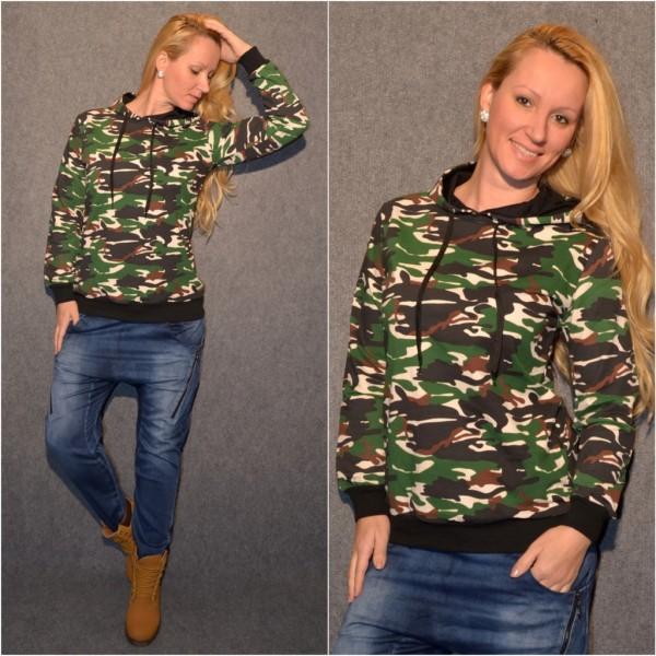 CAMOUFLAGE print Jersey Kapuzen Pullover