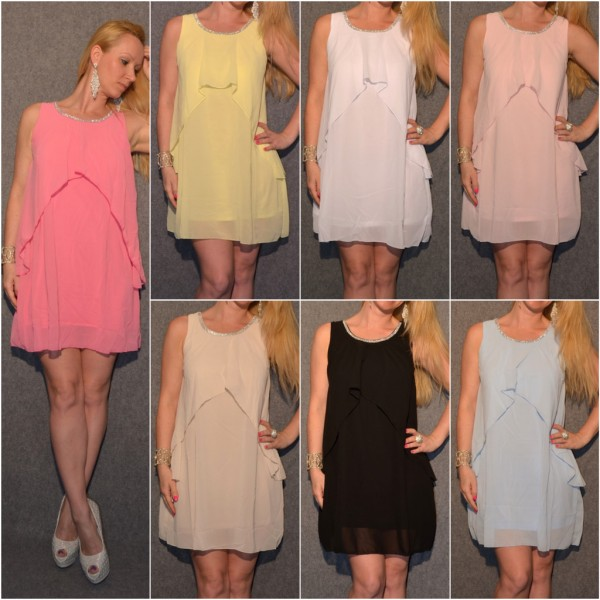 Kleid / Tunika in Lagenlook & STRASS beim Dekoltee