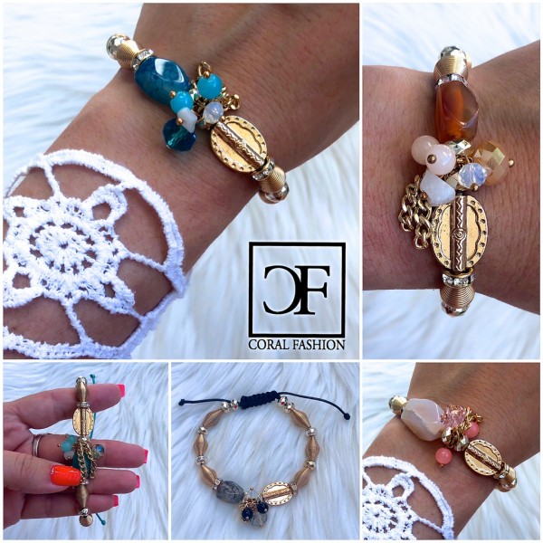 Fashion Schmuck GOLD Optik Armband mit Perlen, Strass & Zugband in 5 Farben