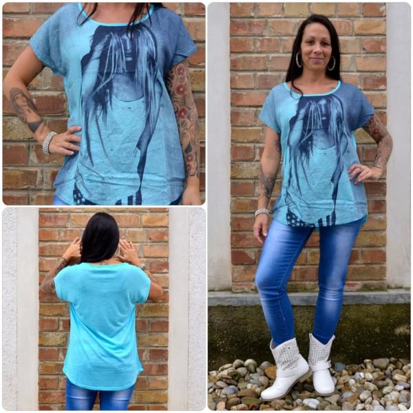 Stylisches Shirt Modell: LADY Haare BLAU