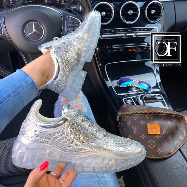 Damen Fashion CRYSTAL Chunky Sneakers Sportschuhe mit Strass besetzt Silber