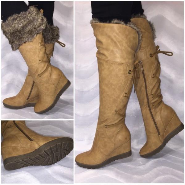 Stiefel mit Schürung / Keilstiefel / Overknees mit Kunstfell gefüttert