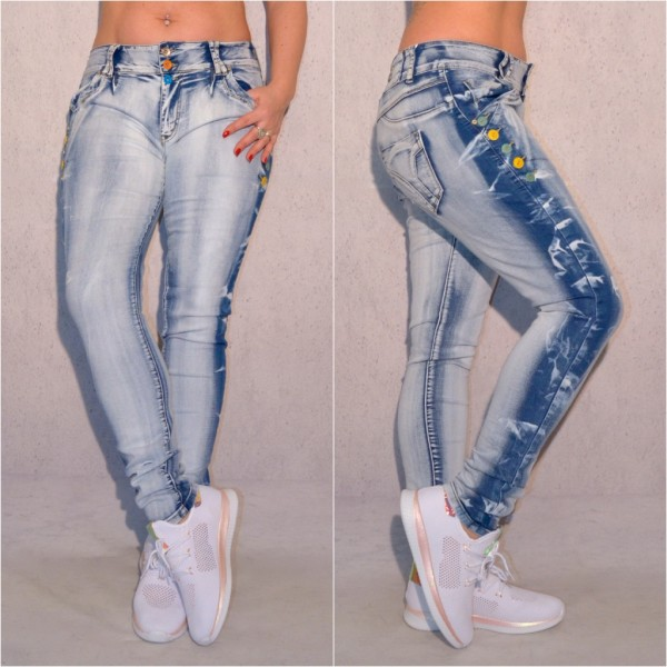 Fashion Damen stretch Denim JEANS Hose mit bunten Knöpfen Stonewashed Blau