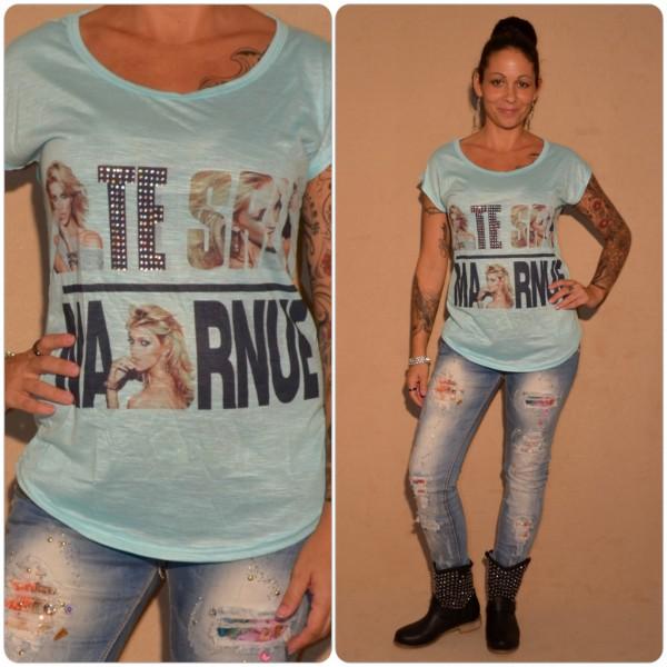 Stylisches Shirt Modell: SCHRIFT & Strass TÜRKIS / BLAU