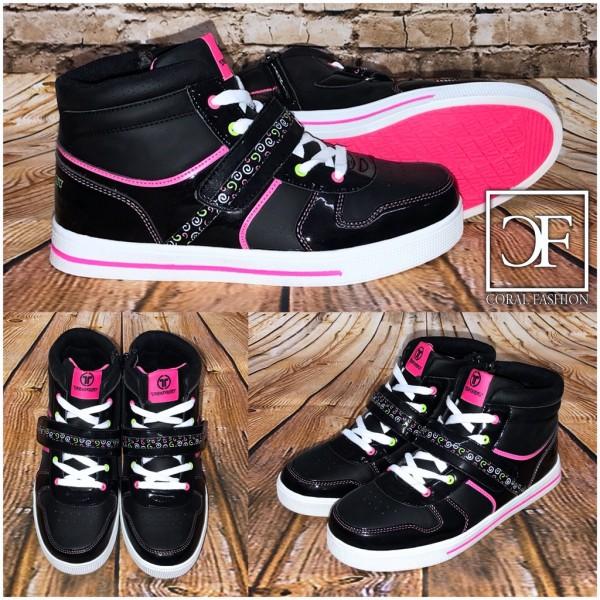 Bequeme Highcut klett Sportschuhe / Sneakers SCHWARZ
