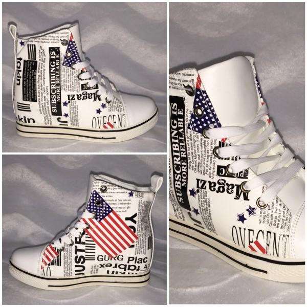 Modell USA NEWSPAPER / erhöhte Sneakers WEISS
