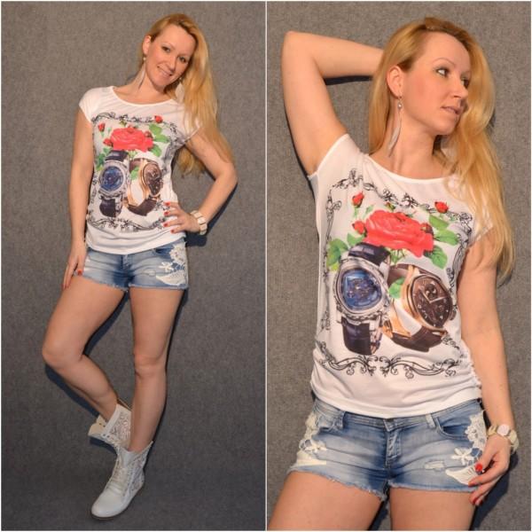 UHREN & ROSEN print Shirt / T-Shirt WEISS