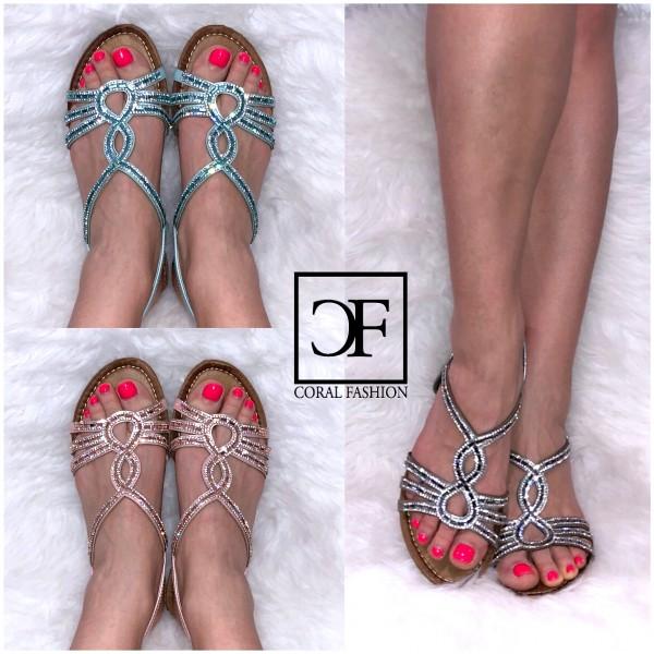 Fashion Sandalen / Sandaletten mit ALL OVER STRASS