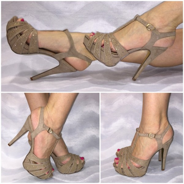 Sexy PARTY Sandaletten / High Heels / Pumps mit Strass KHAKI