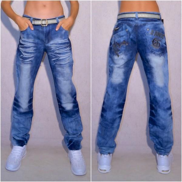 KINDER Jungen Fashion Denim JEANS Hose mit Gürtel in Batik Look Blau