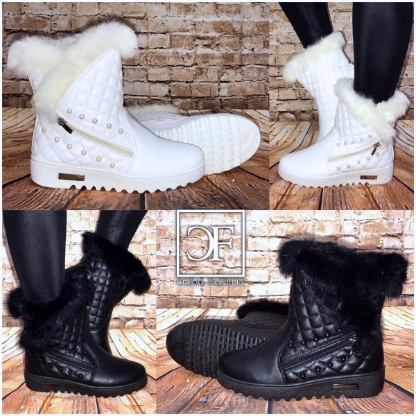 Gesteppte Herbst-Winter Boots / Stiefeletten mit PERLEN / warm gefüttert