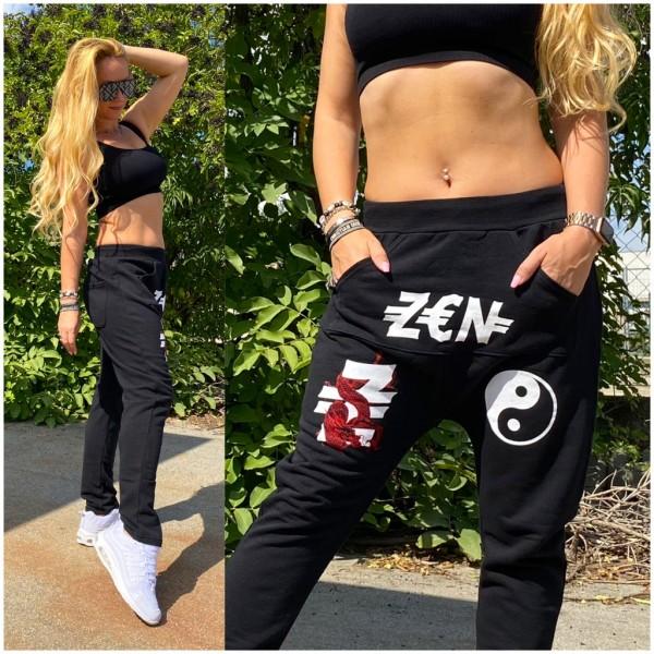 Italy Damen stretch ZEN Sweat Hose Haremshose mit Känguru Tasche Schwarz / Marke PLEASE Fashion