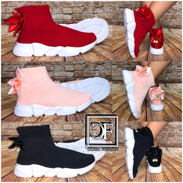 Kinder Stretch Knit Socken Sneakers Sportstiefel mit MASCHE und PERLEN