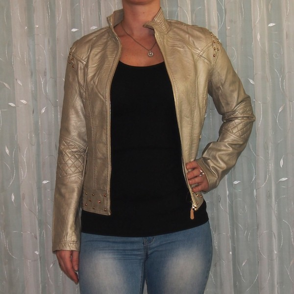 Damen Jacke mit NIETEN CREME Metalic