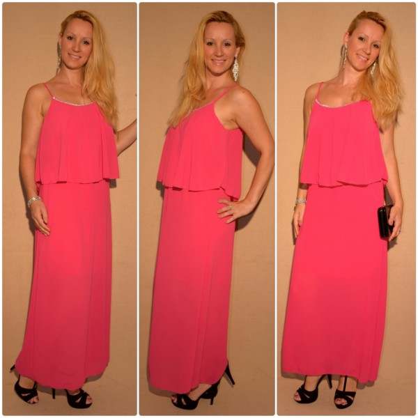 Bodenlanges Elegantes Kleid in Lagenlook PINK