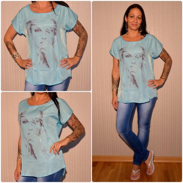 Stylisches Shirt Modell: Strasshand Lady BLAU