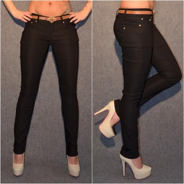 Fashion stretch Hose mit Gürtel SCHWARZ