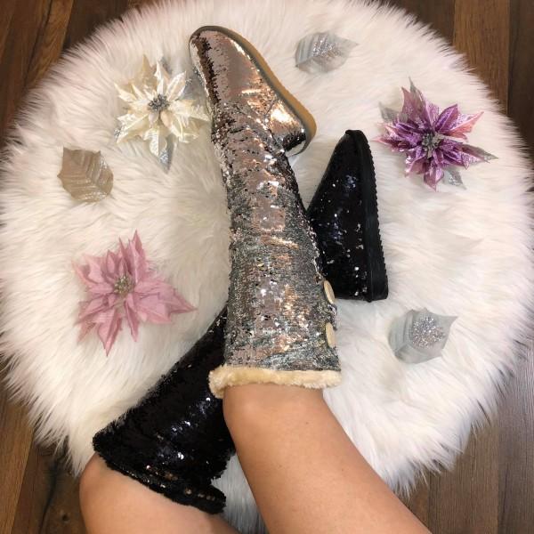PAILLETTEN Langschaft Overknee Stiefel mit Kunstfell gefüttert