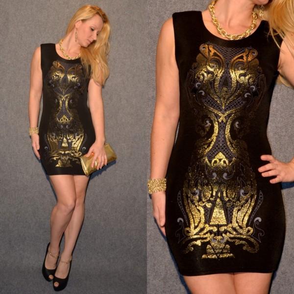 Elegantes Kleid mit ausgefallenem print SCHWARZ / GOLD
