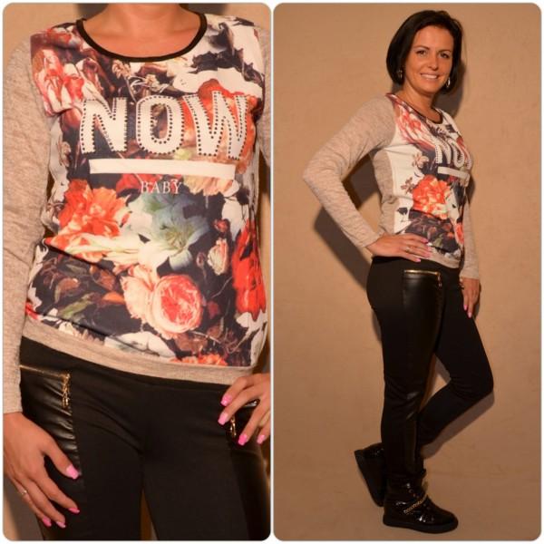 Langarmshirt mit Blumenprint & Strass NOW Schrift BRAUN
