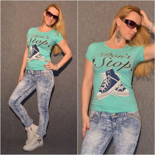 DON´T STOP Sneakers T-Shirt TÜRKIS / GRÜN