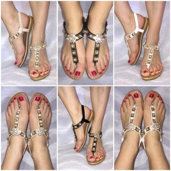 Ausgefallene Zehentrenner Sandaletten mit BLING BLING Strass
