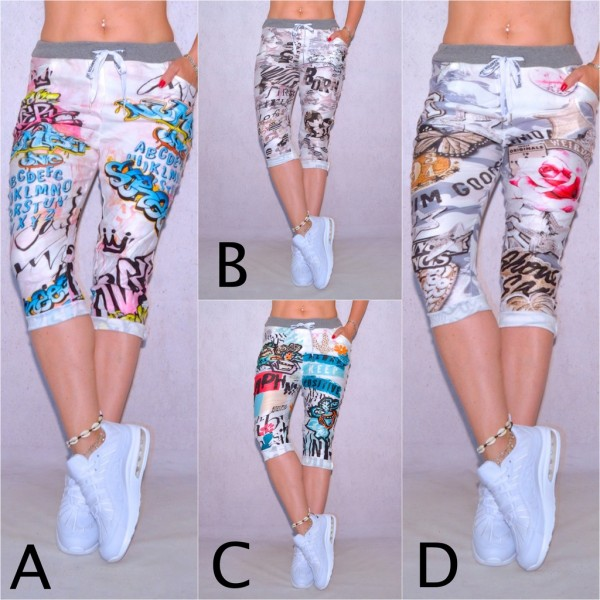 Damen Freizeithose Hose Bermuda Shorts mit Coolem Fantasy Graffiti Comics Print ITALY FASHION