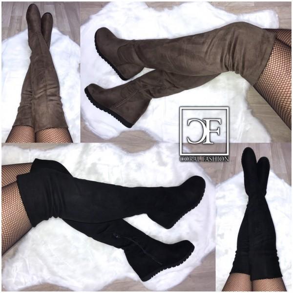 Damen Langschaft KEIL Stiefel / Overkneestiefel mit Keilabsatz / gefüttert in Wildleder Optik
