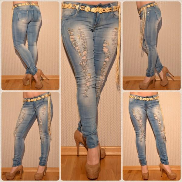 Fashion stretch JEANS / inklusive Gürtel zum binden