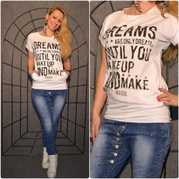DREAMS Shirt mit Seitentaschen WEISS