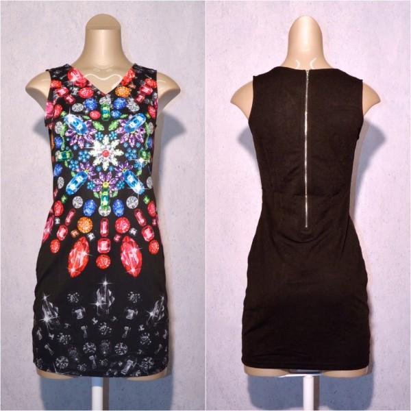 Fashion stretch Kleid / Sommerkleid mit Diamanten Muster & Strass SCHWARZ / Bunt