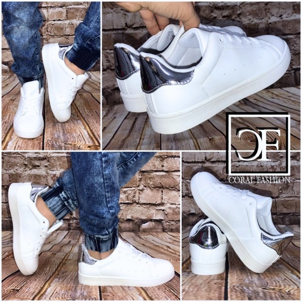 Flache KINDER Low Cut Sportschuhe / Sneakers WEISS / SILBER