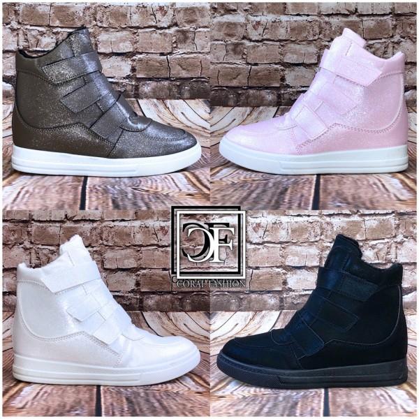 Fashion Damen Klett Sportschuhe Sneakers Glänzend mit erhöhter Innensohle Highcut Keil