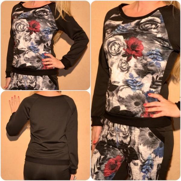 Pullover mit BLUMEN Print ROT / SCHWARZ