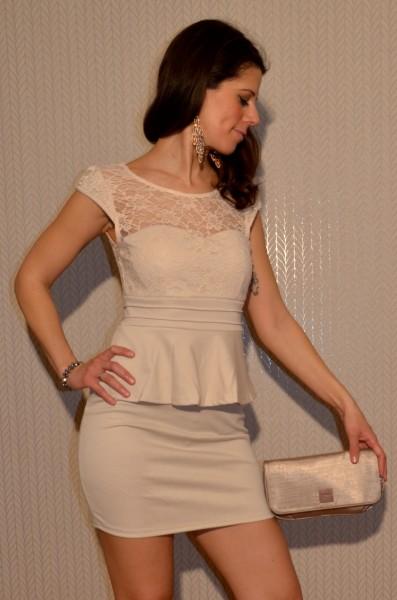 Elegantes Mini Kleid mit Spitze BEIGE